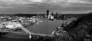 Ohio River Landscapes Posters - Pittsburgh in Black and White Poster by Michelle Joseph-Long