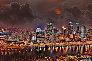 Pittsburgh Drawings Posters - Pittsburgh Night Lights Poster by Jason Wilt