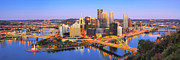 Pittsburgh Skyline. Framed Prints - Pittsburgh Pano 22 Framed Print by Emmanuel Panagiotakis