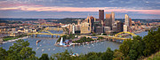 Pittsburgh Skyline.  Framed Prints - Pittsburgh Pano 23 Framed Print by Emmanuel Panagiotakis