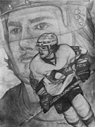 Pittsburgh Drawings Posters - Pittsburgh Penguins Kris Letang Poster by Keith Clouse