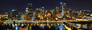 Pittsburgh Skyline. Framed Prints - Pittsburgh Pennsylvania Skyline at Night Panorama Framed Print by Jon Holiday