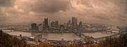 Pittsburgh Framed Prints - Pittsburgh Skyline 1 Framed Print by Wade Aiken