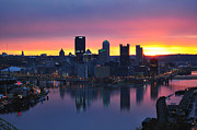 Downtown Pittsburgh Posters - Pittsburgh Skyline at Dawn Poster by Joseph Heh