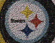 Nfl Posters - Pittsburgh Steelers  Bottle Cap Mosaic Poster by Paul Van Scott