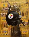Football Painting Acrylic Prints - Pittsburgh Steelers Helmet - Super Bowl Champions Acrylic Print by Ryan Jones