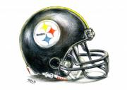 Football Drawings Metal Prints - Pittsburgh Steelers Helmet Metal Print by James Sayer