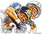Steelers Digital Art Prints - Pittsburgh Steelers Hines Ward Tennessee Titans Cortland Finnegan Print by Jack Kurzenknabe