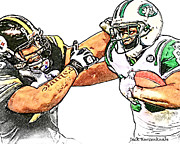 New York Jets Posters - Pittsburgh Steelers James Harrison  New York Jets Jerrico Cotchery Poster by Jack Kurzenknabe