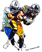 Steelers Digital Art Prints - Pittsburgh Steelers Mike Wallace  Tennessee Titans Jason McCourty  Print by Jack Kurzenknabe