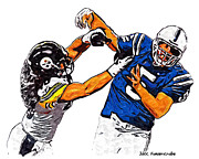Steelers Digital Art Posters - Pittsburgh Steelers Troy Polamalu and Indianapolis Colts Kerry Collins Poster by Jack Kurzenknabe