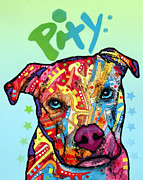 Dog Art Painting Metal Prints - Pity Metal Print by Dean Russo