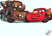 Lightning Drawings Prints - Pixar Cars Print by Claudia Gonzalez
