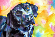 Black Lab Puppy Paintings - Pixie Dog - Black Lab by Christy  Freeman