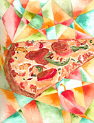 Watercolor Canvas Framed Prints Framed Prints - Pizza Pizza Framed Print by Paula Ayers