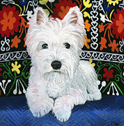 Westie Puppy Prints - Pj Print by Debbie Brown