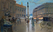 Night Lamp Painting Metal Prints - Place de l Opera in Paris Metal Print by Georges Stein