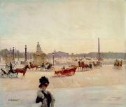 Carriage Horses Paintings - Place de la Concorde - Paris  by Georges Fraipont
