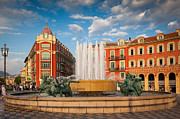 Architecture Photos - Place Massena at Dusk by Inge Johnsson