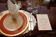Michelle Obama Photo Framed Prints - Place Setting Of The White House China Framed Print by Everett