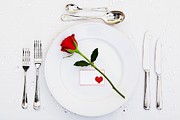 St. Valentines Day Posters - Place setting with red rose Poster by Richard Thomas