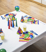 Party Birthday Party Prints - Place Settings For a Birthday Party Print by Andersen Ross