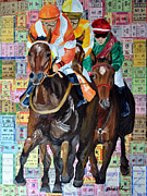 Kentucky Derby Painting Originals - Place Your Bets by Michael Lee
