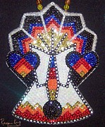 Seed Beads Framed Prints - Plains Tipi in Sequins Framed Print by Raegan King