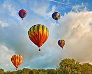 Hot Air Balloon Prints - Plainville Balloons 2 Print by Edward Sobuta