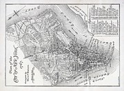 Downtown Painting Metal Prints - Plan of the City of New York Metal Print by American School