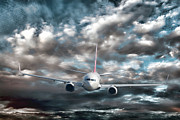 Airline Framed Prints - Plane in Storm Framed Print by Olivier Le Queinec
