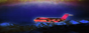 Airlines Digital Art - Plane Landing at Airport - The Red Eye Flight by Steve Ohlsen