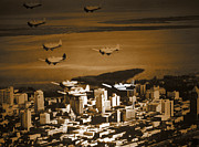 World War Two Art - Planes over Miami  by Steven  Digman