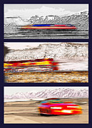 Blurry Mixed Media Prints - Planes Trains Automobiles Triptych Print by Steve Ohlsen