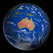 Cartography Digital Art - Planet Earth From Space, Australia Prominent by Saul Gravy