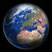 Cartography Digital Art - Planet Earth From Space, Europe Prominent by Saul Gravy