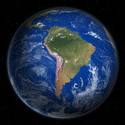 Cartography Digital Art - Planet Earth From Space, South America Prominent by Saul Gravy