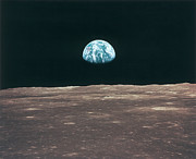 Satellite View Posters - Planet Earth Viewed From The Moon Poster by Stockbyte