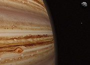 Jupiter Prints - Planet Jupiter And A Distant Moon Print by Jason Reed
