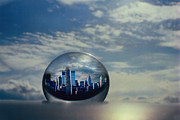 Science Fiction Glass Art Acrylic Prints - Planet NY Acrylic Print by Etti Palitz
