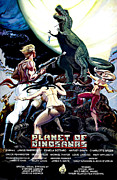Horror Fantasy Movies Metal Prints - Planet Of Dinosaurs, 1-sheet Poster Metal Print by Everett