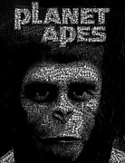 Planet Of The Apes Posters - Planet of the Apes Text Mosaic Poster by Paul Van Scott