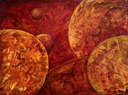 Abtract. Paintings - Planets Collide by Shelly Leitheiser