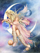Colored Pencil Mixed Media Posters - Planets of the Universe Poster by Johanna Pieterman