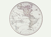 Antique Map Digital Art Metal Prints - Planispheric Map Of The Western Hemisphere Metal Print by Fototeca Storica Nazionale
