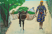 Marketplace Painting Framed Prints - Plantain Merchant Woman Framed Print by Nicole Jean-Louis