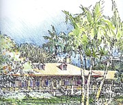 Tropics Drawings - Plantation House by Andrew Drozdowicz