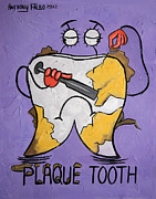 Tooth Mixed Media Prints - Plaque Tooth Print by Anthony Falbo