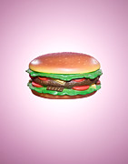 Take-out Prints - Plastic Burger On Pink Background Print by Rowan Fee