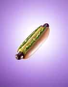 Plastic Hotdog On Purple Background Print by Rowan Fee